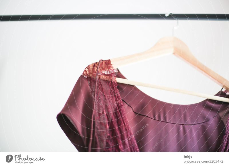 clothes rail Fashion Clothing Dress Hallstand Hanger Bright Easy Lace Delicate Red Second-hand shop Colour photo Interior shot Close-up Detail Deserted