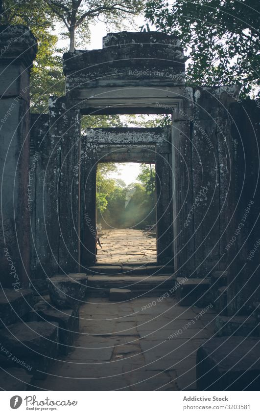 Ancient stone gates in garden Stone Gate Garden Temple Vacation & Travel Thailand Architecture Old Culture Entrance Antique Tradition Historic Peace Calm Empty