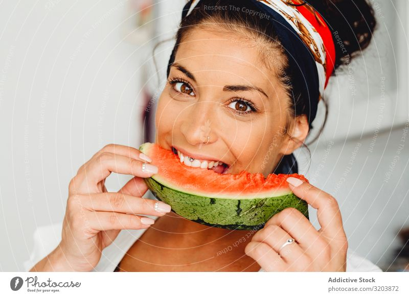Pregnant female eating delicious watermelon Woman Water melon Showing one's bellybutton Fruit Vitamin Delicious expecting Baby Youth (Young adults) Human being