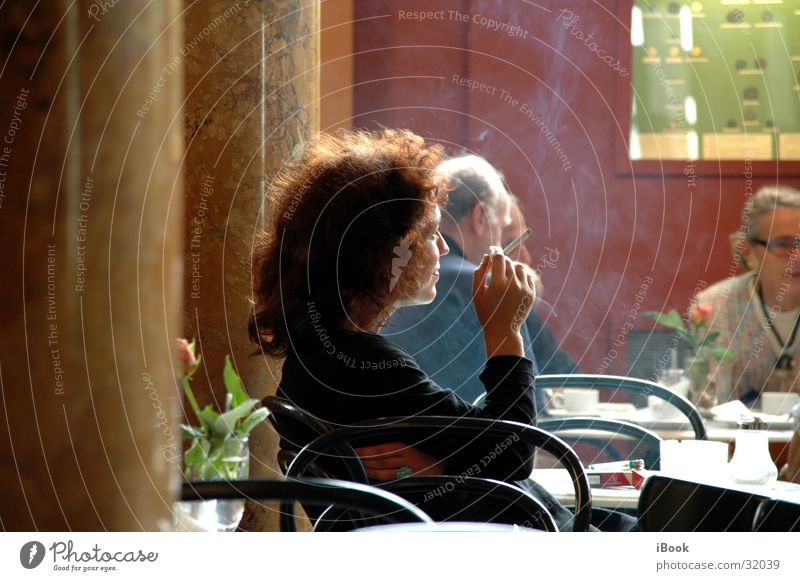 Woman Sit Café Human being Sidewalk café Smoky