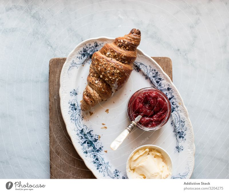 Served breakfast meal with sandwich and jam Breakfast Croissant Jam marmalade Strawberry Butter Fresh Delicious Food Dessert Nutrition Meal Fruit Baked goods