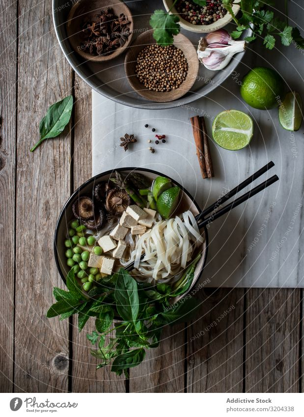Spices and fresh vegetables for cooking Soup Vegetarian diet pho Herbs and spices Mix Bowl Delicious Asian Food noodle Cooking Dinner Dried Tradition national