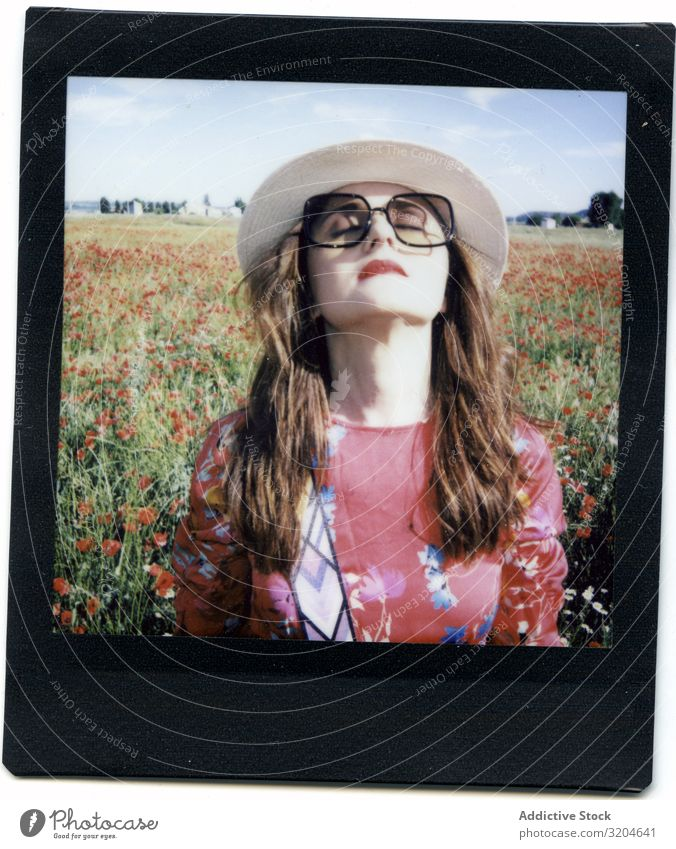 Instant photo of woman on field instant poppies Photography Woman Field Laughter Summer Blooming Closed eyes Lifestyle Leisure and hobbies Style Happy Freedom