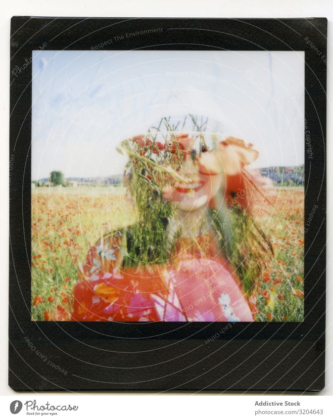 Silhouette of woman in blooming meadow Woman poppies Summer Field Blooming instant Photography Cheerful Sunbeam Day Freedom Meadow Joy Shot Illustration Flower