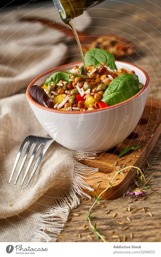 Bright vegetables with lentils and spinach in bowl Lentils Rice Spinach Vegetable Healthy Food Organic Vegan diet appetizing Green Salad Raw Eating Meal Fresh