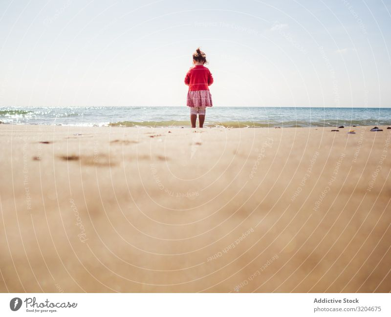 Girl walking on beach in sunny day Beach Walking Sunbeam Day Toddler Sand seaside Water Calm Coast Infancy Vacation & Travel Action Child enjoying Positive