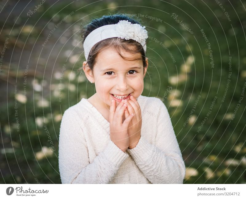 Portrait of charming smiling little girl in park Girl Portrait photograph Park Charming Small Happy Delightful Child Summer Woman Beautiful Attractive Model