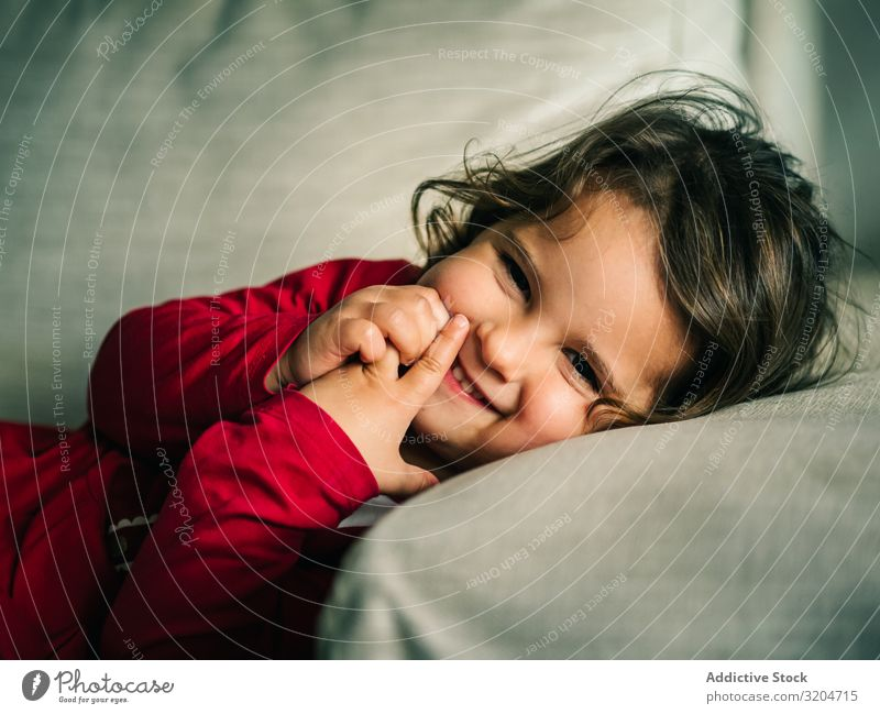 Cute dreamy girl lying down on pillow Girl Lie Pillow Dream Resting Child Smiling Flat (apartment) Woman Comfortable Cozy Delightful Sleep Relaxation Calm