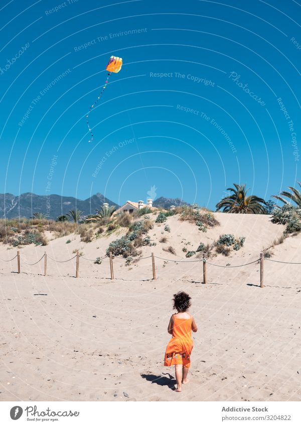 Toddler girl playing with kite on sandy beach Girl Kite Beach Playing Sand Small Child Woman Flying Blue sky Running seaside Vacation & Travel Summer Infancy