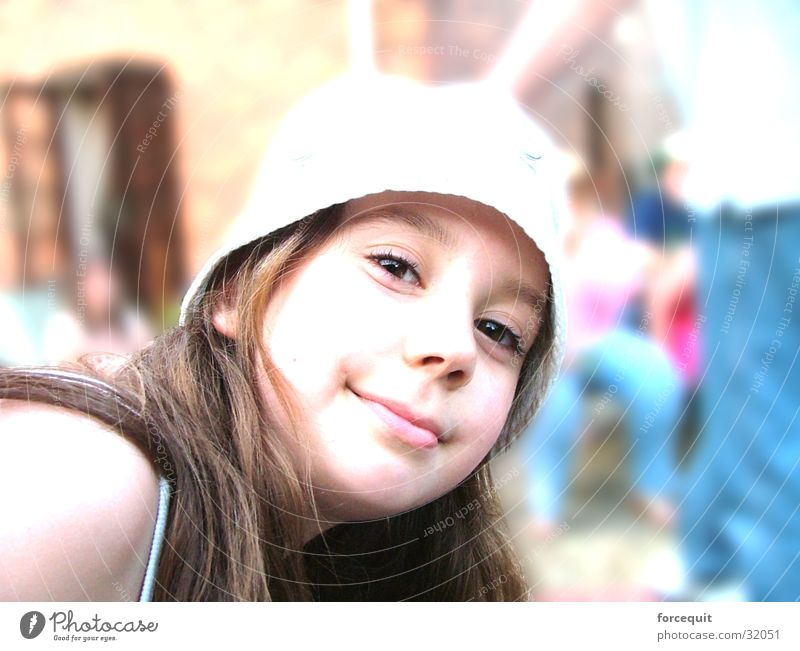 Stare at the camera Woman Young woman 13 - 18 years Portrait photograph Face of a woman Looking into the camera Smiling Sunhat Long-haired Brunette