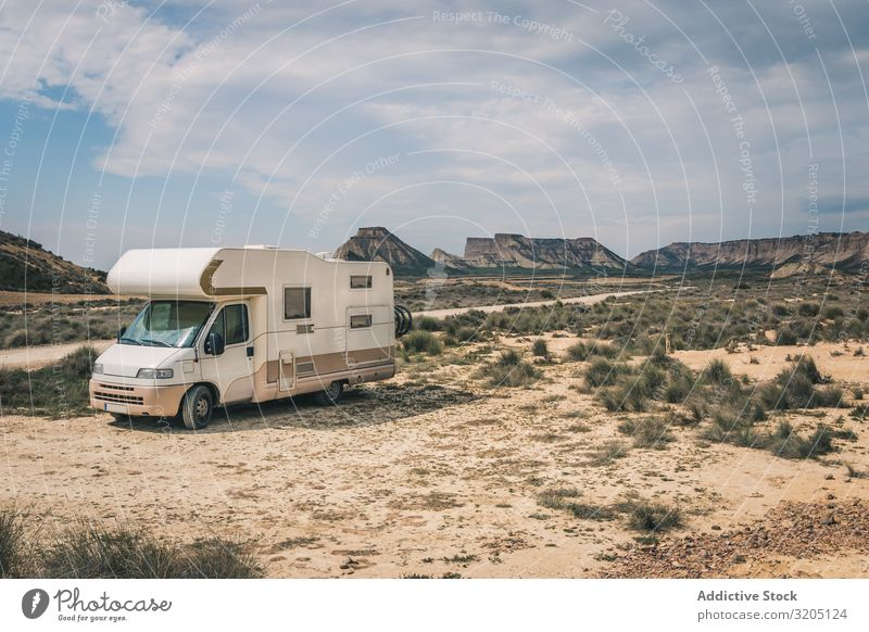 White trailer on desert Trailer Desert Amazing Empty Vacation & Travel Caravan Landscape Nature Speed Asphalt Trip semi Adventure Freeway scenery Sand Sky