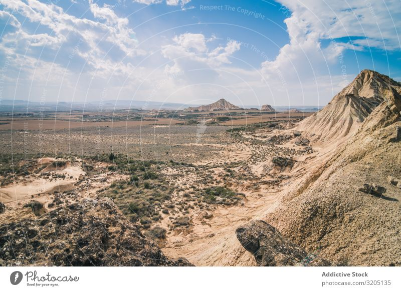 Amazing landscape of rocky desert hills in bright day Desert Hill Landscape Sand Stone Plant Trip Dry Nature Sky Vacation & Travel Hot Dune Tourism scenery