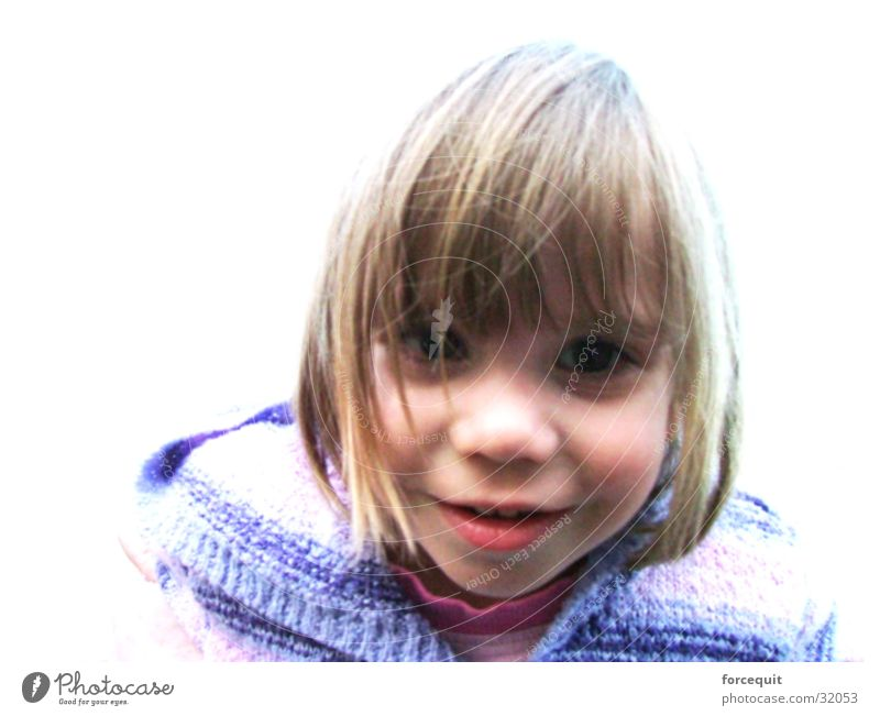 Girl Blonde Cute Curiosity Smiling Direct Positive Bangs Haircut 3 - 8 years Strand of hair Shock of hair Face of a child Bright background Smooth hair