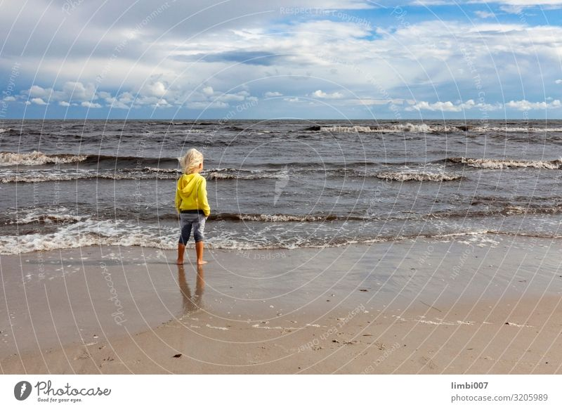 Boy Windy Sea Vacation & Travel Far-off places Beach Waves Child Human being Boy (child) Landscape Clouds Storm Gale Coast Baltic Sea Anticipation Longing