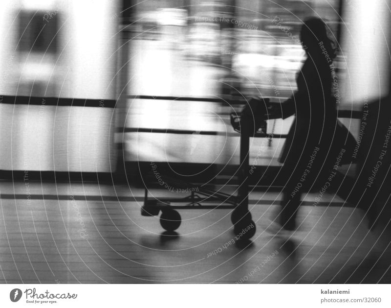 once again too late... Woman Blur Black White Transport baggage car Train station Haste Movement Black & white photo