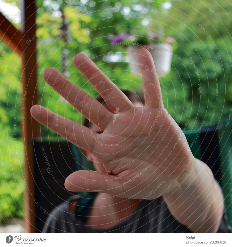 Hand of a woman in defensive position shows STOP, that's it! Human being Adults Fingers 1 30 - 45 years Environment Nature Plant Summer Beautiful weather Bushes