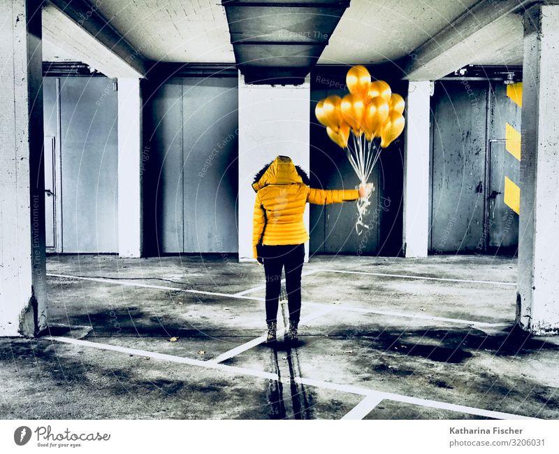 Yellow balloons 1 Human being Art Stand Gold Gray Orange Black Underground garage Garage Parking lot Jacket Pants Hot Air Balloon Stripe Gas balloon
