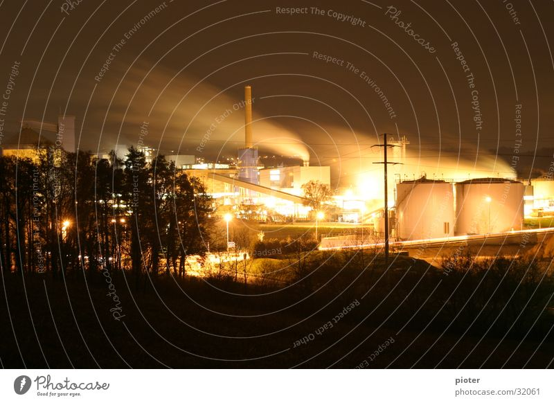 sugar factory Light Factory Night Long exposure Sugar refinery Work and employment Machinery Industry Smoke Steam Share women's field