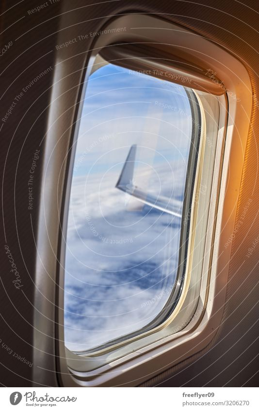 View of the wing of a plane from the window Beautiful Vacation & Travel Trip Adventure Business Technology Aviation Nature Sky Clouds Horizon Transport Airplane