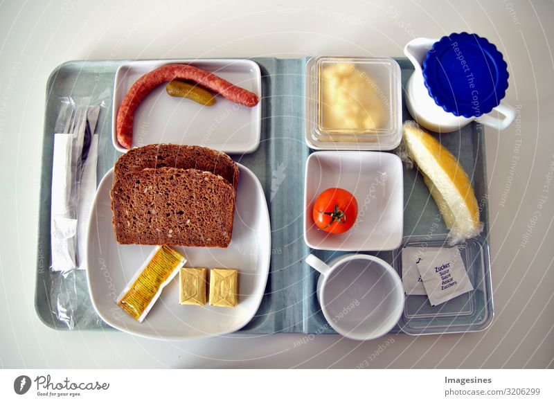 Hospital food Hospital food. Sparse food on a tray like in a canteen of hospitals, universities and similar places. Tray with a meal on a plate of hospital food. Sparse food for patients to prevent illness.
