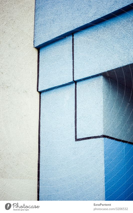 Blue House (Residential Structure) Architecture Wall (building) Building Wall (barrier) Facade Gray Design Decoration Line Esthetic Corner Illustration Stripe