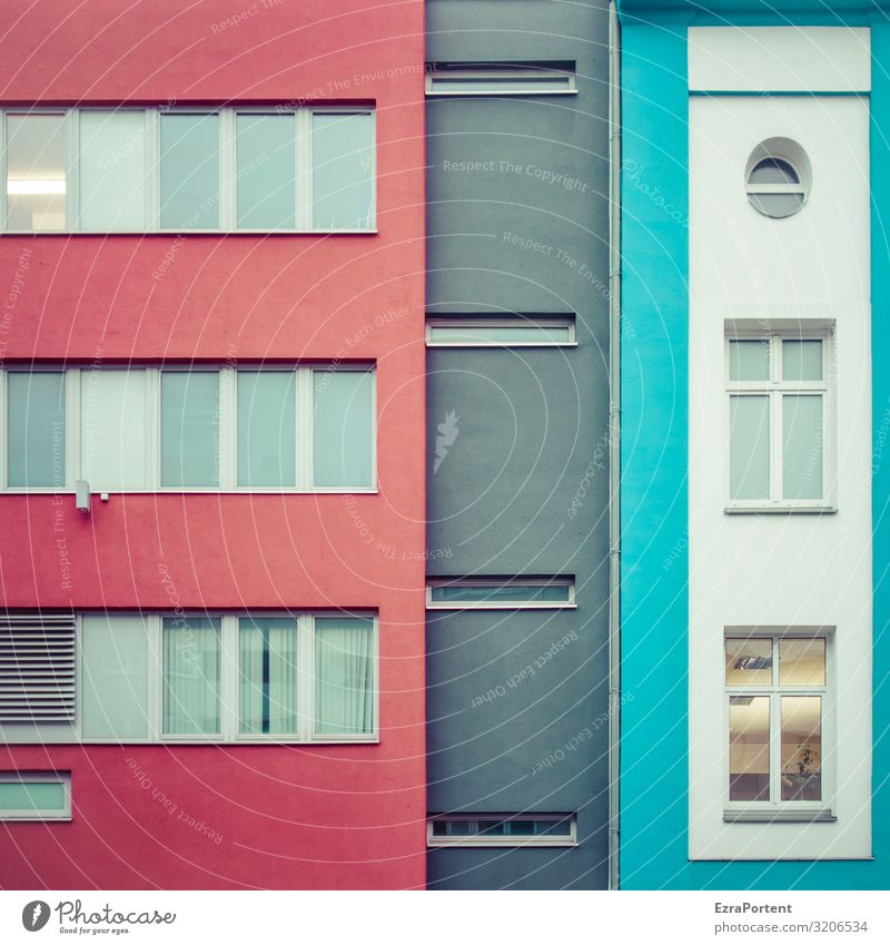 Blue Colour Red House (Residential Structure) Window Architecture Wall (building) Building Wall (barrier) Facade Gray Design Line Modern Glass Round