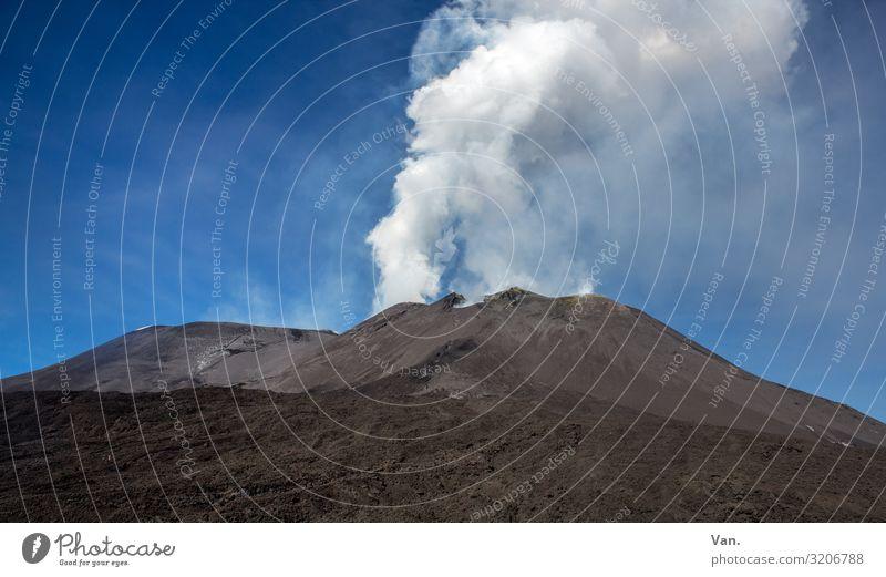 Raachermannl Nature Landscape Elements Earth Sky Beautiful weather Hill Mountain Volcano Mount Etna Smoking Blue Gray Black White Eruption Smoke Volcanic crater