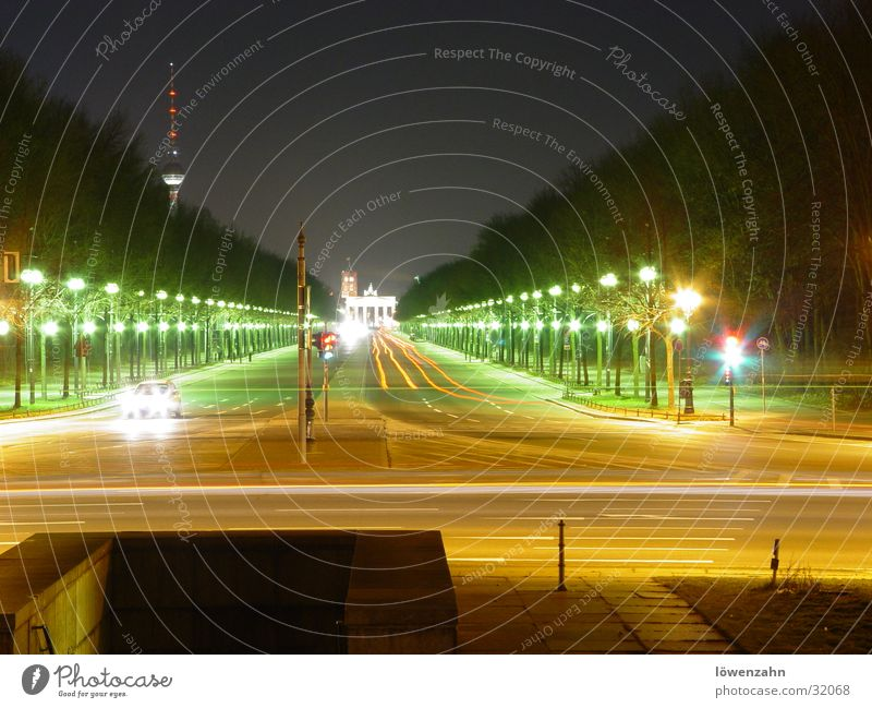 Berlin Brandenburg Gate Night Victory column Long exposure Lantern Red White Light Europe Berlin TV Tower Floodlight Street Capital city Car Sky
