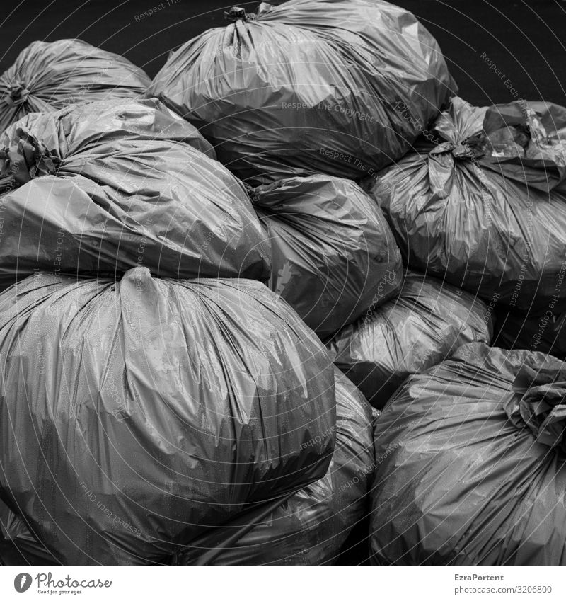 baggy Environment Climate Climate change Gray Black Arrangement Environmental pollution Environmental protection Trash Garbage bag Waste management
