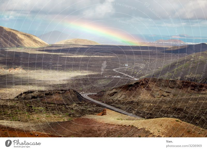 somewhere over the rainbow Nature Landscape Earth Sky Clouds Autumn Rainbow Hill Lanzarote National Park of Timanfaya Street Exceptional Beautiful Blue Brown