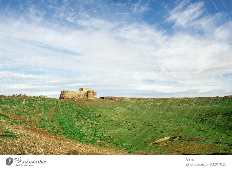medieval castle Lock Sky Horizon Clouds Grass green Blue White wide Far-off places Tourist Attraction Sardinia