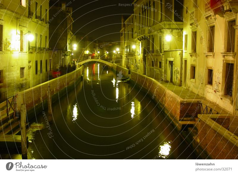 Venice Italy Night Light Long exposure March Europe Water Channel Night shot Artificial light Central perspective Right ahead Historic Historic Buildings Old
