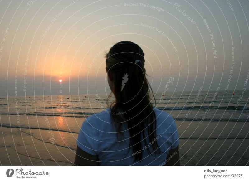 Woman Water Girl Sun Ocean Beach Dark Sand Back
