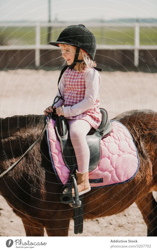 Little happy girl riding horse on hippodrome smiling sport ride portrait equestrian child practice childhood kid little jockey rural animal ranch training