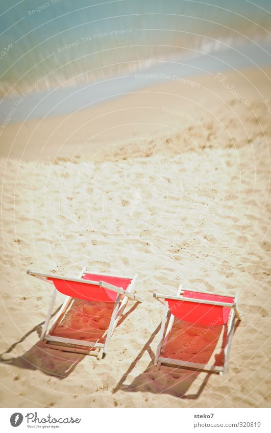 Summer in the front row Beautiful weather Warmth Waves Coast Beach Ocean Hot Bright Blue Yellow Red Relaxation Vacation & Travel Break Deckchair Sandy beach 2