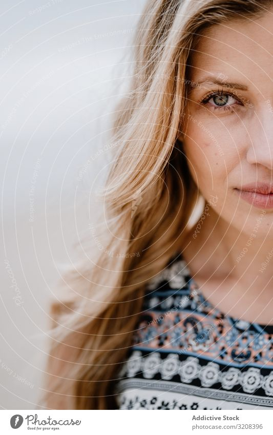 Crop of half face of beautiful young woman portrait beauty close-up fashionable crop view glamorous summer female person attractive blonde pretty casual stylish