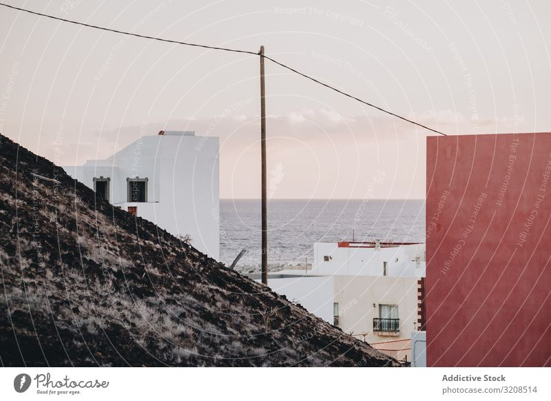 View of old town on seashore house mountain la restinga el hierro canary island landscape travel tourism destination vacation location water sky wire different