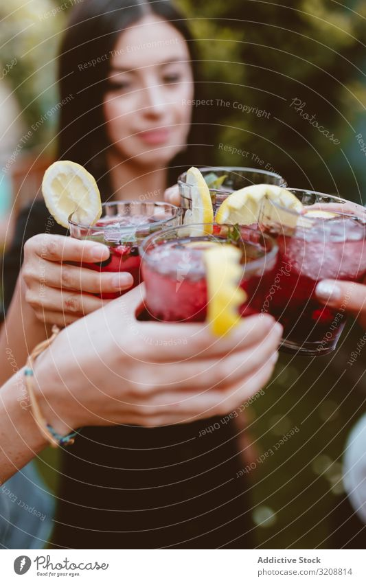 Group of cheerful friends clinking glasses at party yard colorful berry drink summer smiling cocktail hipster cheers friendship woman fun happy people evening
