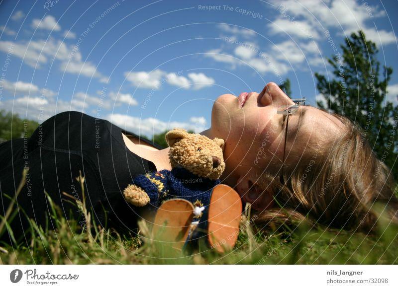 Woman Sky Green Clouds Meadow Grass Dream Lie Teddy bear Cuddly toy
