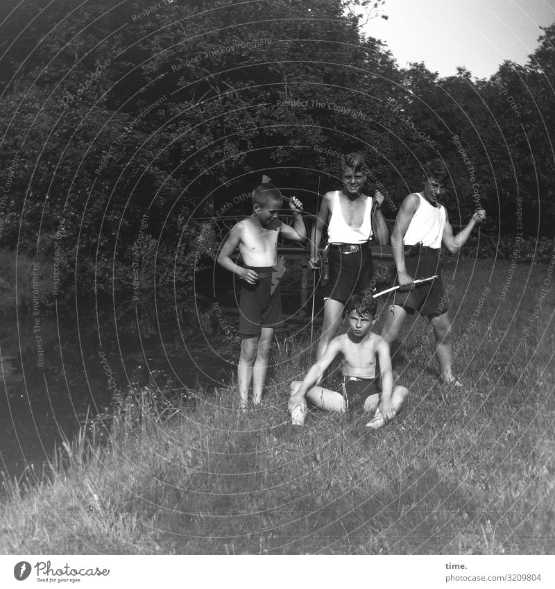 Contemporary History | Boys' Games 1929 Meadow Brook Playing Weapons tools Guys Summer Knives hatchet Stick Forest pose demonstrate group picture Undershirt