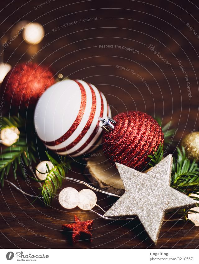 Christmas & Advent Green Red Background picture Wood Feasts & Celebrations Brown Decoration Gold Glittering Stars Card Fir tree Glitter Ball