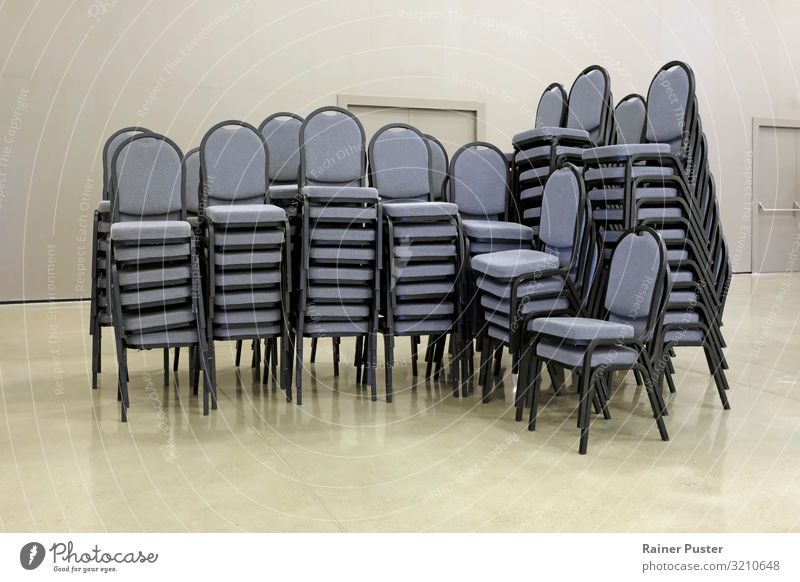 Gray Office Modern Gloomy Stand Clean Chair Meeting Steel Boredom Stack Cleanliness Orderliness Group of chairs Conference hall Stack of chairs