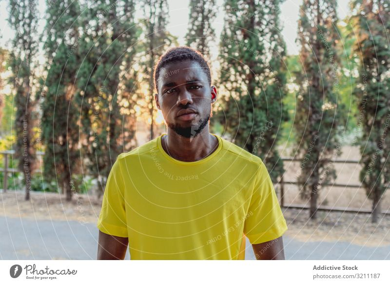 Serious black man standing in park during jogging determined sport portrait sunlight cool confident ethnic african american male training athlete focused