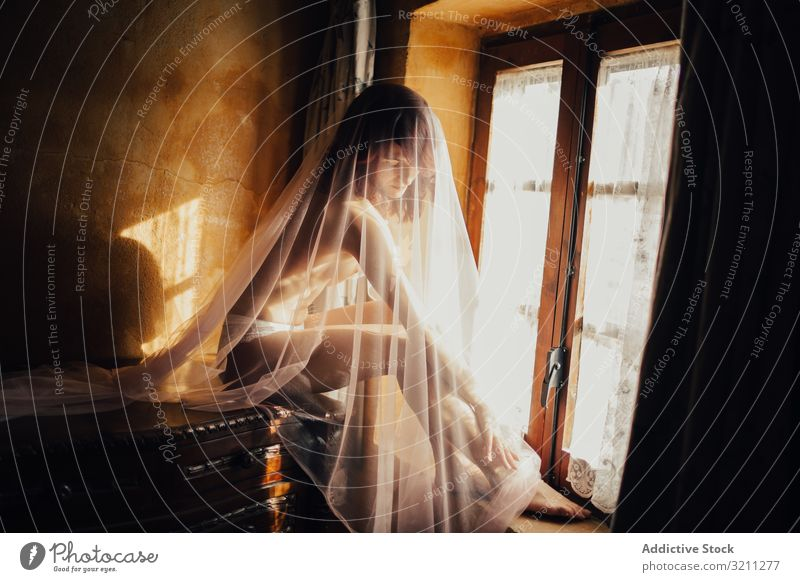 Sensual woman under veil near window sensual provocative mysterious intimate charming purity transparent naked window sill sitting sunbeam enigma glow young