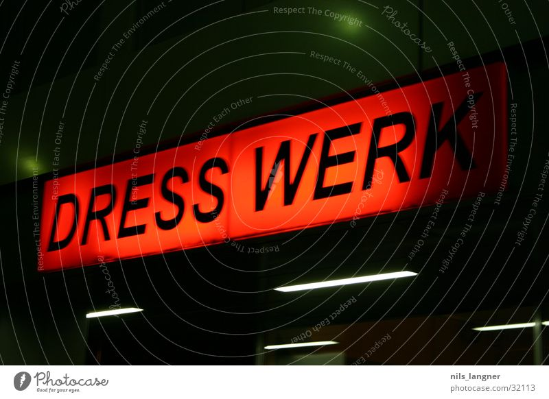 dresswerk 2 Advertising Neon light Night Red Store premises Transport Signs and labeling Freiburg im Breisgau Fashion