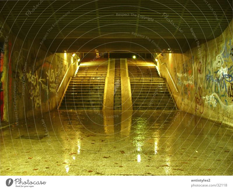 underpass Light Tunnel Glittering Wet Bridge Underpass Stairs Graffiti
