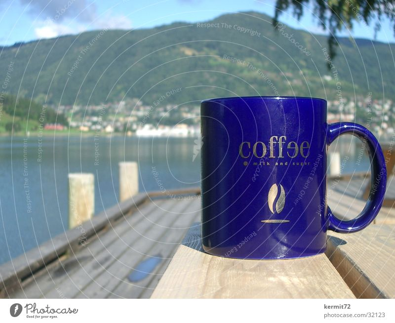 Sun Blue Vacation & Travel Mountain Lake Coffee Gastronomy Cup Depth of field Norway Mug