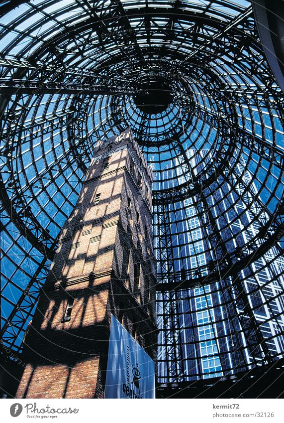 Shot Tower Factory hall Glass Glass dome High-rise Symbiosis Modern architecture Australia Architecture Sky Industry Brick wall