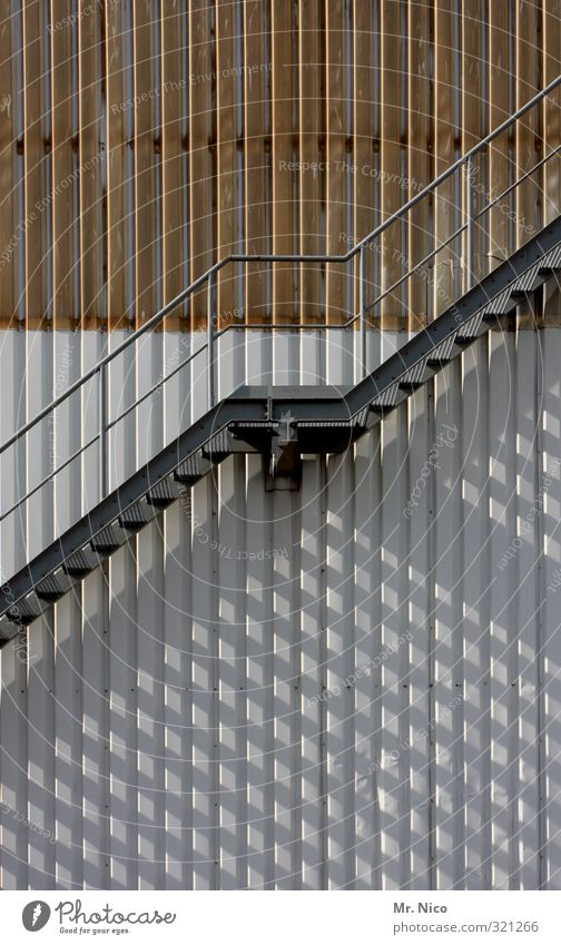 Architecture Building Above Metal Going Facade Stairs Tall Dangerous Safety Handrail Factory Manmade structures Fear of heights Under Banister