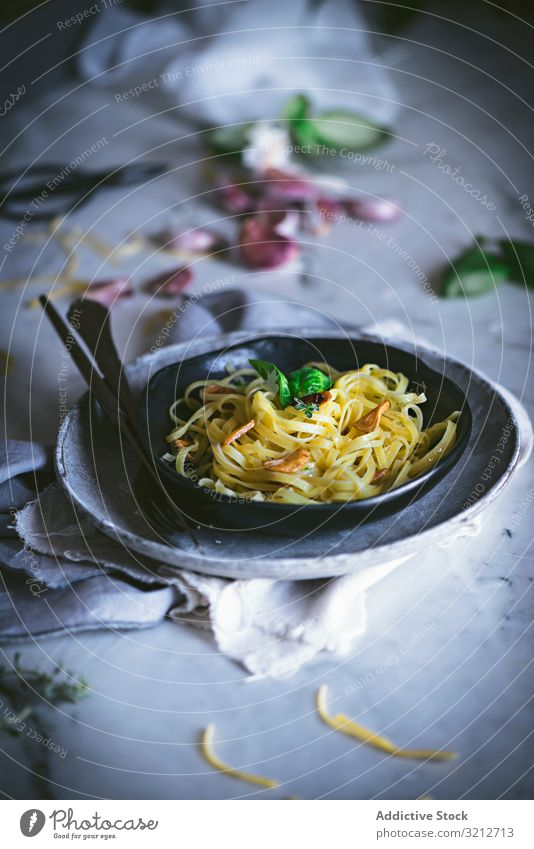Delicious noodles served with green and vegetable pasta tasty italian food meal dish delicious basil spaghetti cooked gourmet prepared traditional fresh eating